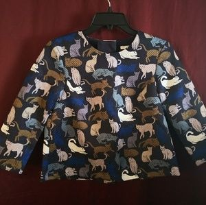 H&M Cats Pattern Print Blouse Top Size 2 Navy Blue